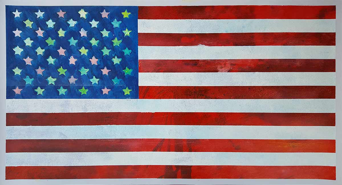 American Flag - Contemporary Art Painting - Florin Coman