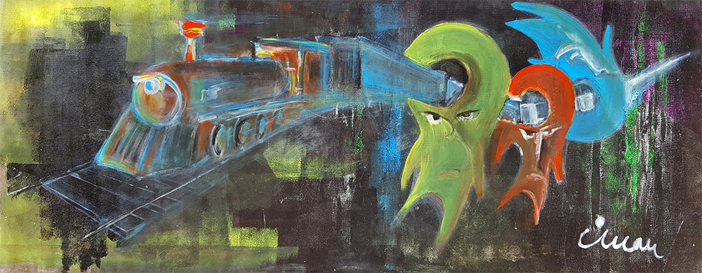 Train in my mind - Contemporary Art Painting - Florin Coman