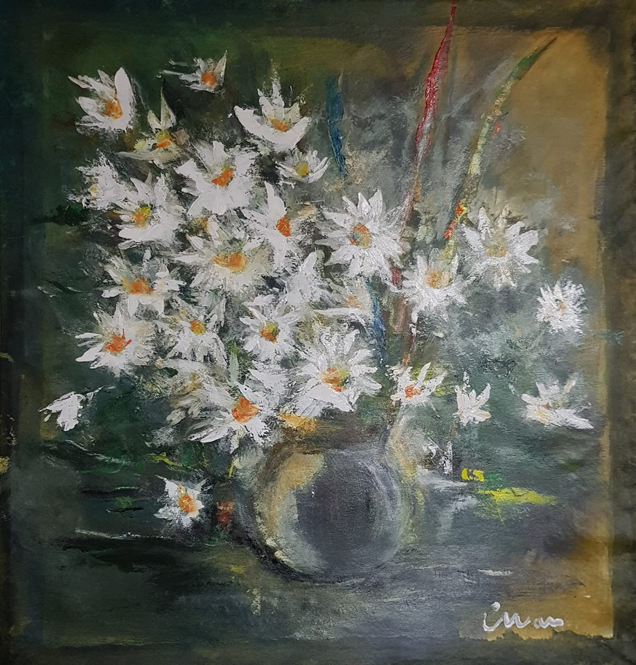 White Flowers - Contemporary Art Painting - Florin Coman